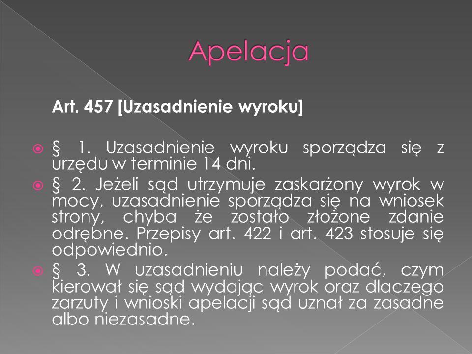 Apelacja Art. 457 [Uzasadnienie wyroku]